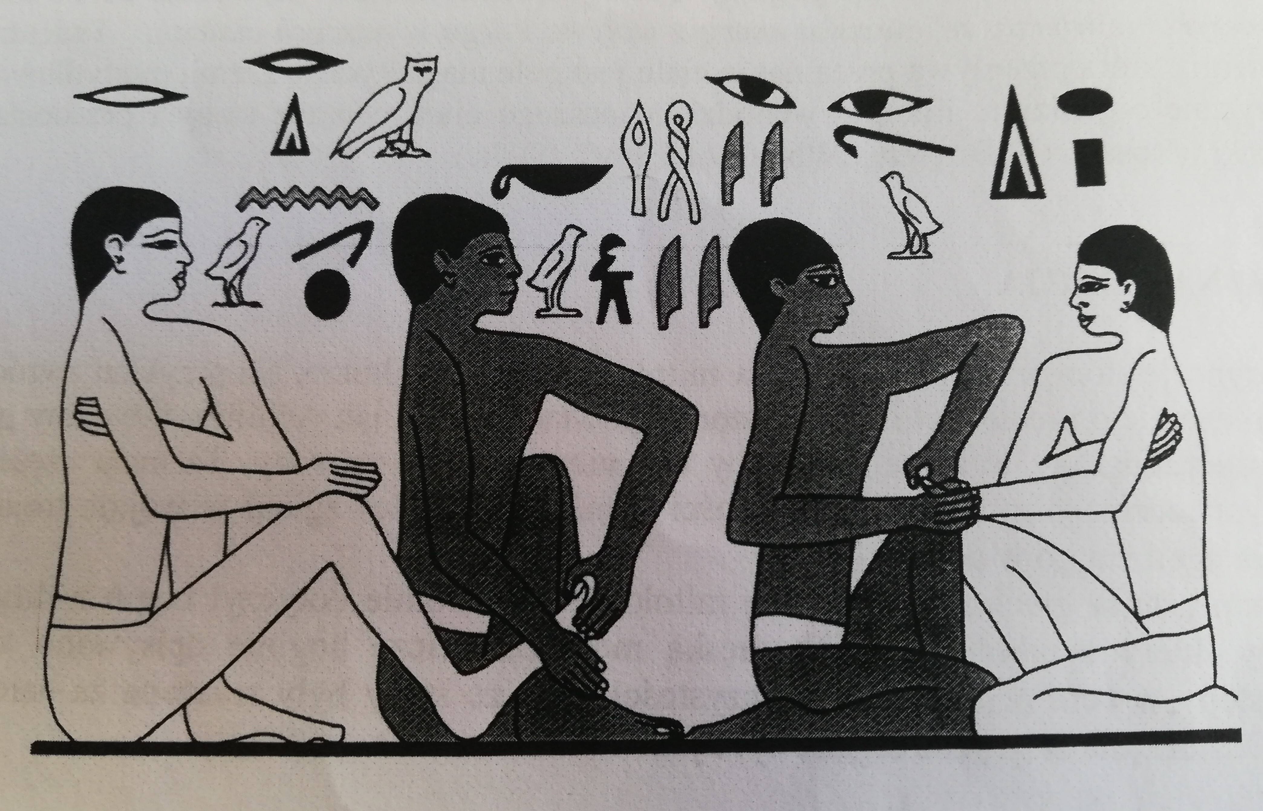 Obraz przedstawia piktogram z Sakkry, na którym ówcześni lekarze leczą swoim pacjentów poprzez masaż