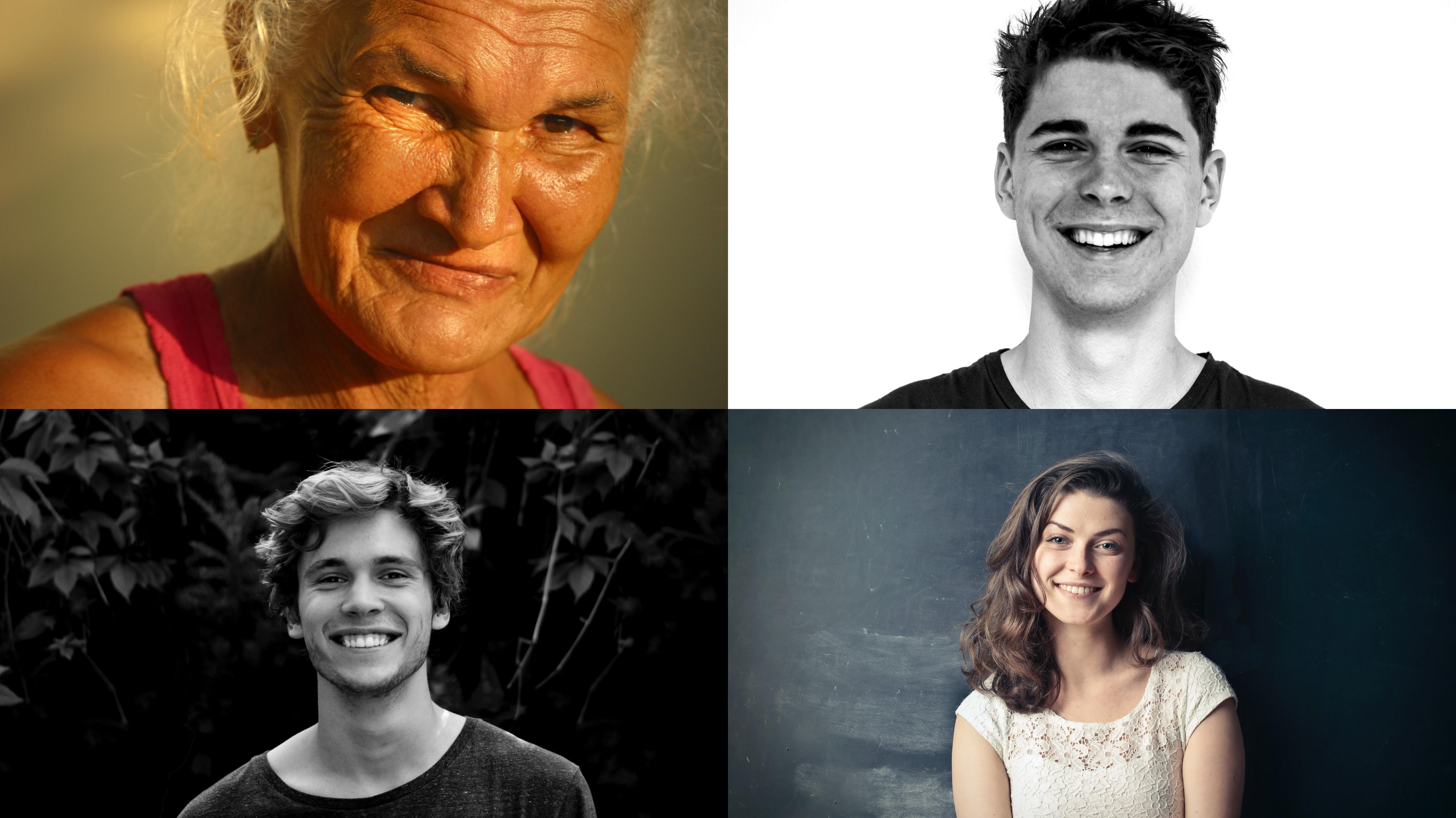 Kolaż złożony z twarzy ludzi w różnym wieku